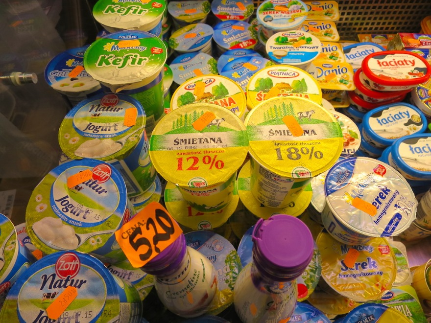 Although low fat, non fat and medium fat yogurts and other products were offered in grocery stores, they also do not shy away from full fat products either, to our delight.