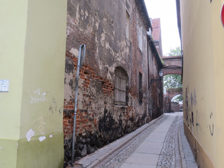 View down a side lane, not yet restored