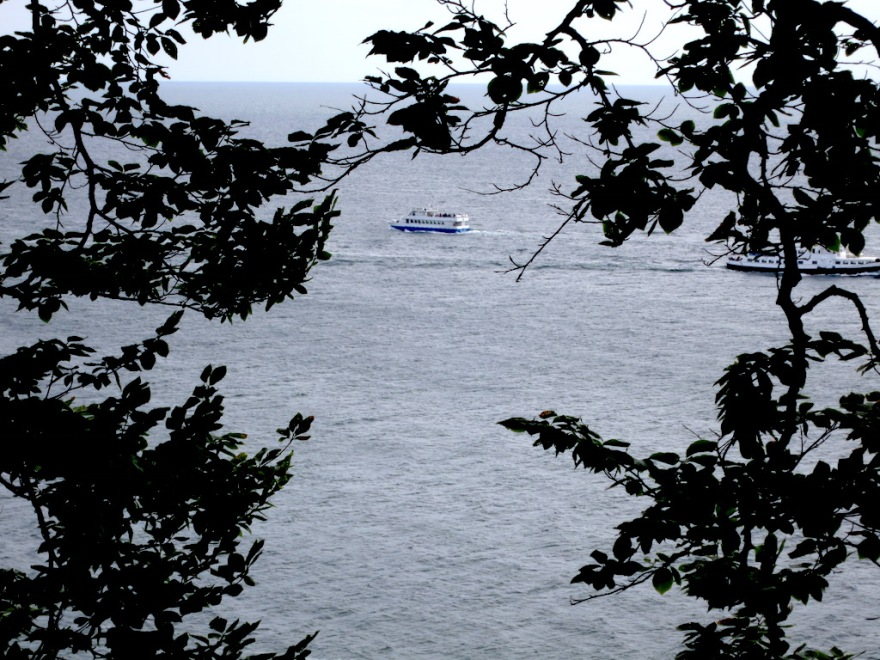 Sightseeing boat passes the cliffs.