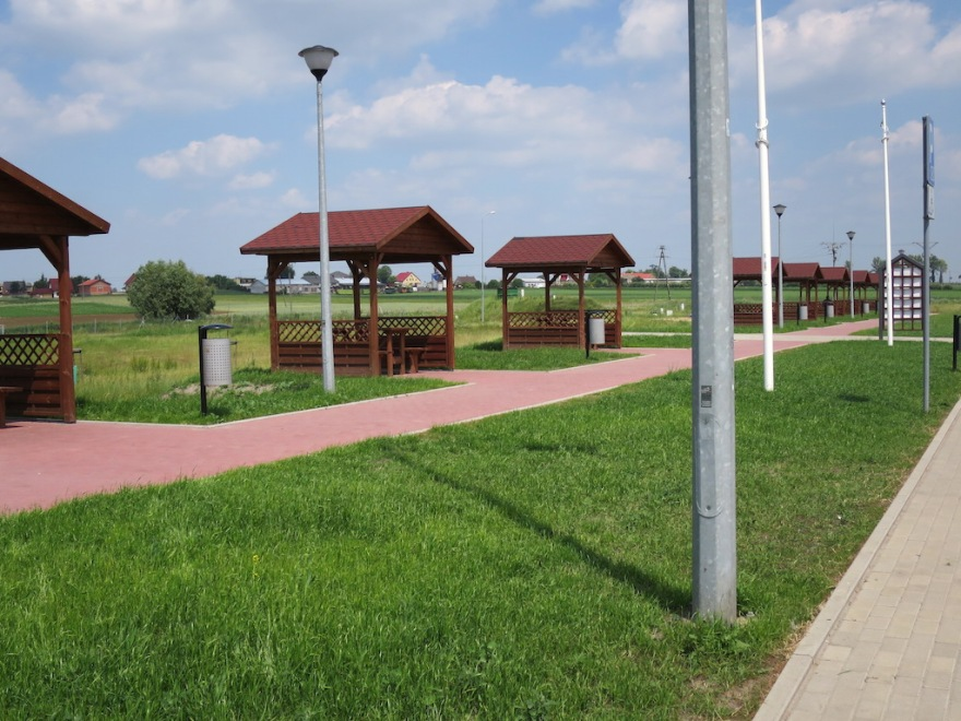 Polish rest stop with covered picnic tables