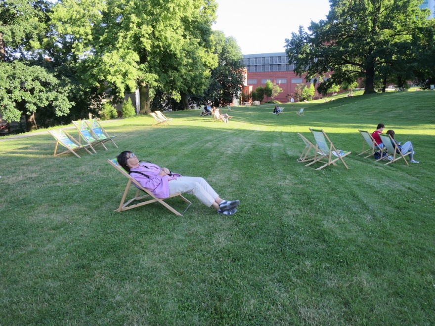 On the lawn of the former brewery, not the town's largest shopping mall.