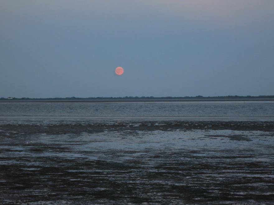 Full moon rises over the ocean