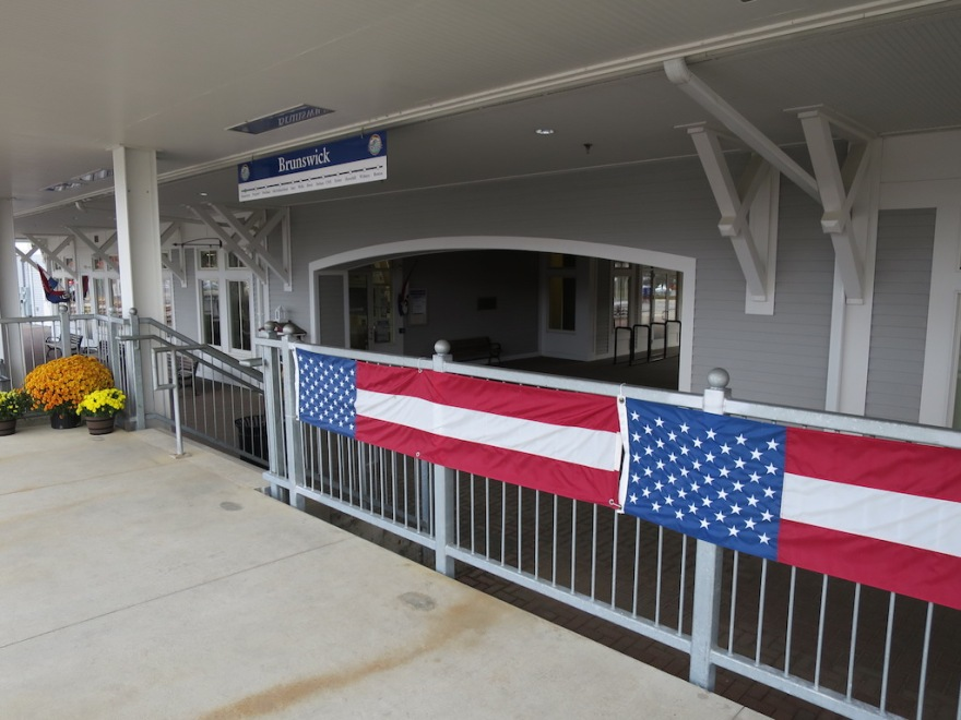 Flags at the new Amtrak train station