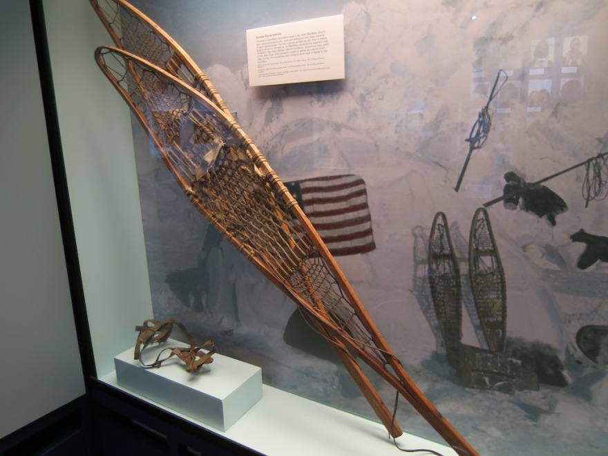 Perry's snowshoes, and flag
