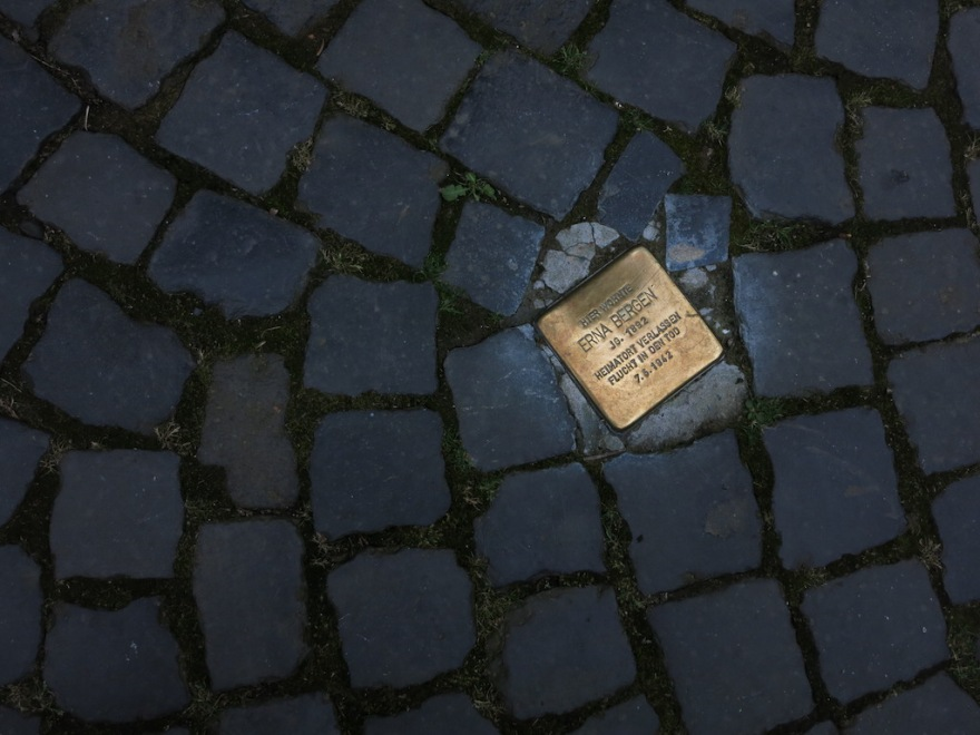 Memorial to a Jewish person rounded up and murdered by the Nazis.