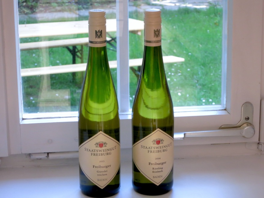 A Riesling and a Gutedel, a regional specialty.