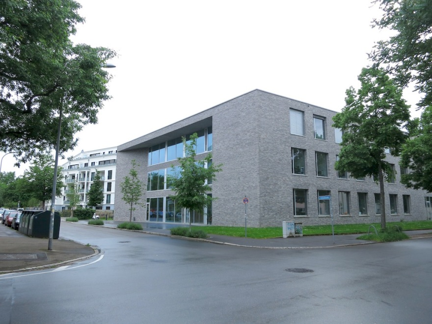 University biology building and adjoining gardens