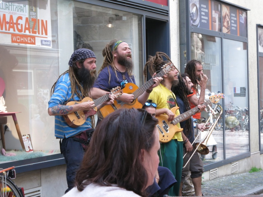 Scruffy street musicians came by and entertained us for a while.
