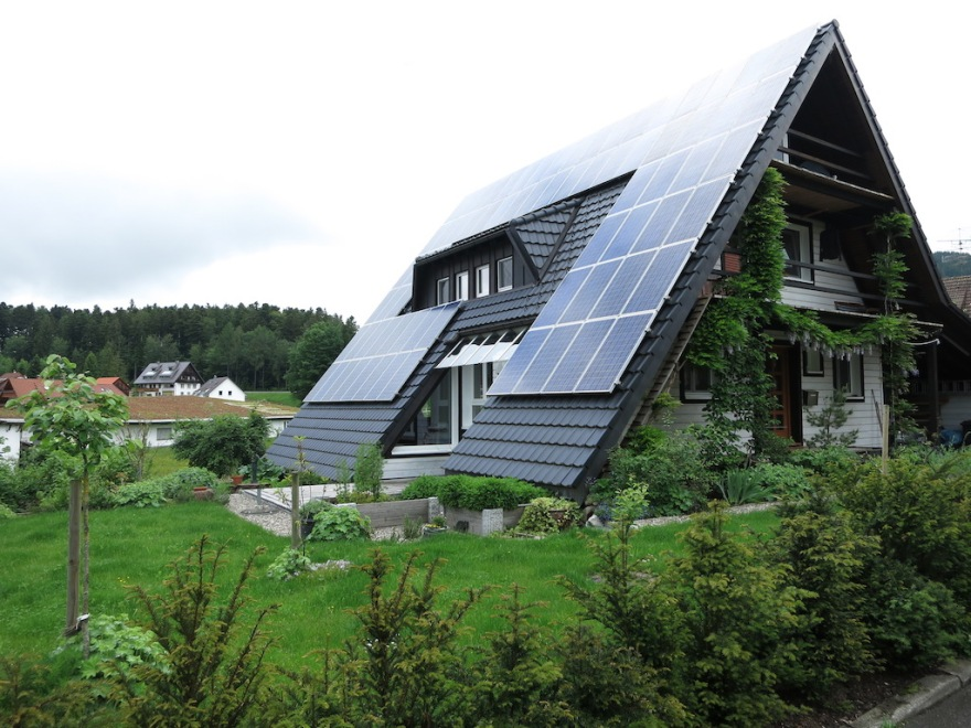 A more modern place loaded with solar panels