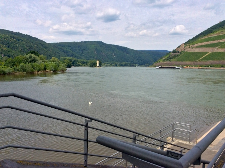 On the south, Bingen, side of the river.