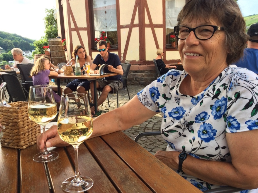 Naturally, we enjoyed dinner and a glass of local wine, on the terrace overlooking the Moselle.