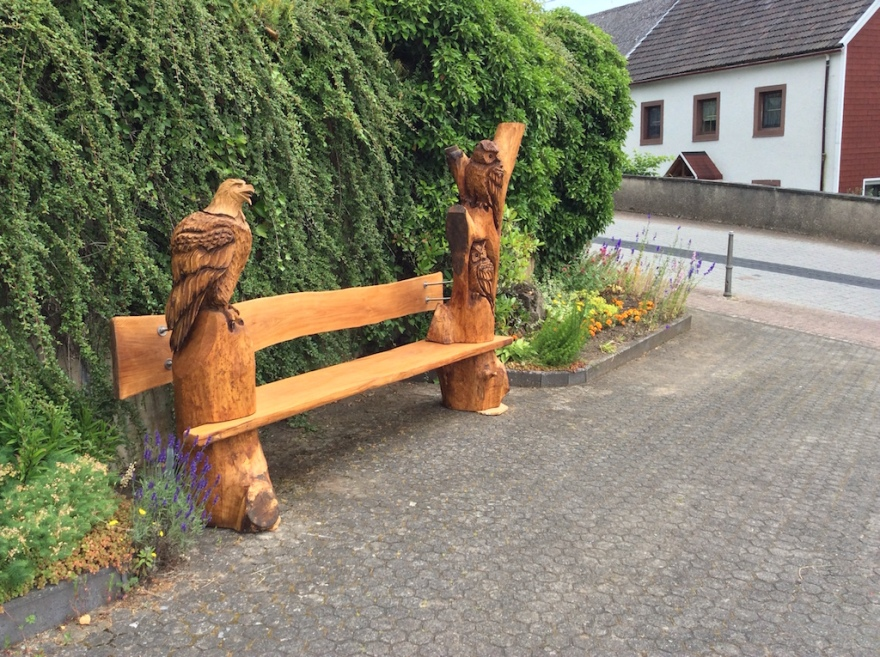 An interesting hand-carved bench