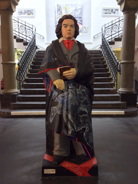 Beethoven greet visitors at the tourist office