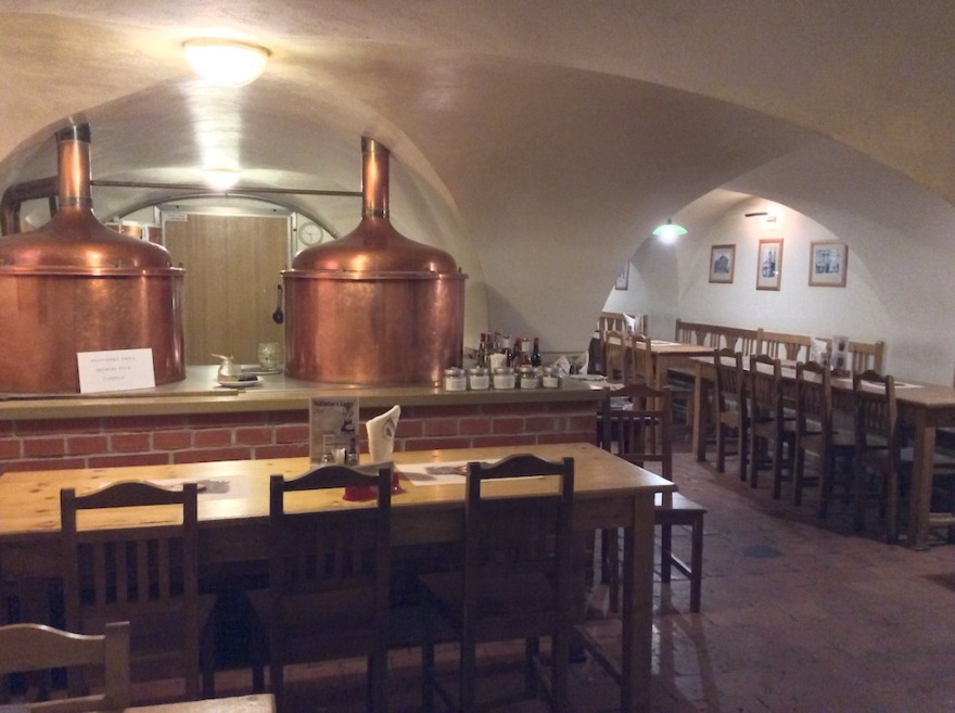 Some of the brewery kettles